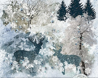 Winter Overlays, Digital Scrapbooking, Digital Overlays, Scrapbook Overlays, Winter Digital, Reindeer Overlay, Snow Tree Overlay, Snowflakes