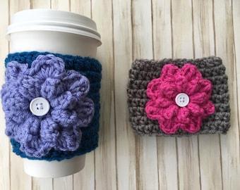 Flower Coffee Cozy/Flower Coffee Sleeve/Crochet Flower Coffee Cozy