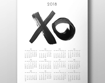 2018 calendar 2018 annual wall calendar year at a glance minimalist art calendar xo printable calendar instant download digital print