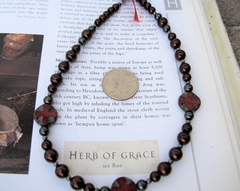 glass pearls Gothic Countess necklace Czech glass beads