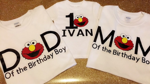Elmo First Birthday Shirts Mom And Dad Of The Boy