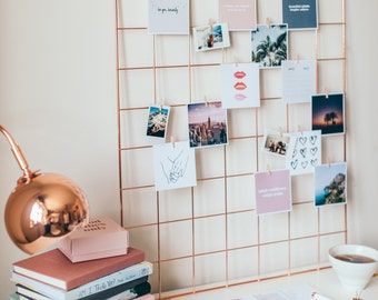 Rose Gold Wall Grid Decor Photo Organiser Memo Board Moodboard With FREE Wooden Clips Included