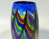 13 quot Hand Blown Glass Art Bowl Vase, Made with complex Italian Murano Glass Cane Technique, Dirwood Glass