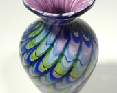 9 quot Elegant Hand Blown Glass Bowl Vase - Original Design by Dirwood Glass - Complex Glass Cane Process