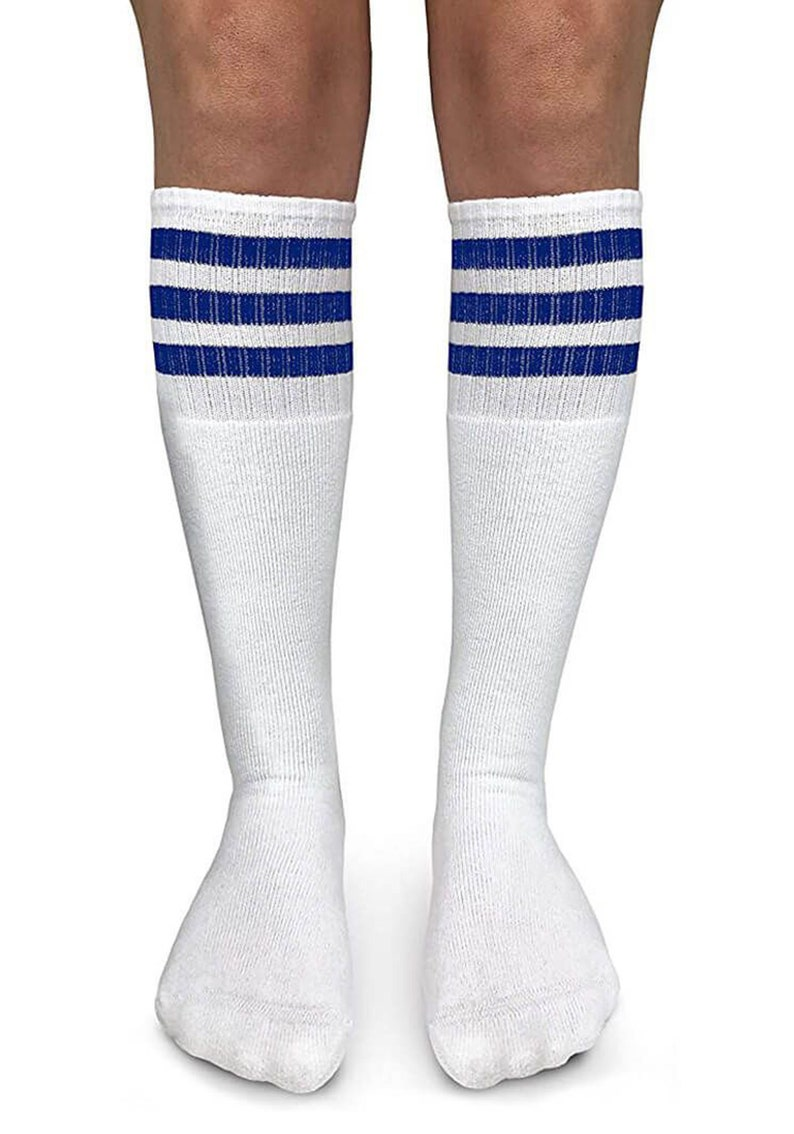 Tube Socks Triple Stripe Girls Boys Kids Unisex Retro Fashion Novelty Vintage Sport Cotton Warm Toddler Knee High Boot Tall Long Sock 1 Pack