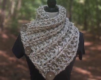 The Bennington Cowl, Chunky Buttoned Cowl, Chunky Crochet Cowl, Chunky Knit Cowl, Toddler Buttoned Cowl, Childrens Buttoned Cowl