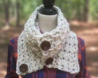 The Asher Cowl, Chunky Crochet Cowl, Chunky Knit Cowl, Buttoned Cowl, Women's Buttoned Cowl, Toddler Cowl, Children's Cowl