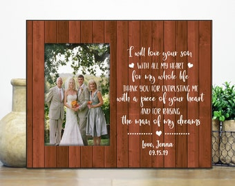 mother-in-law gift personalized wedding picture frame for parents parent wedding gift Thank you for raising your son wedding frame