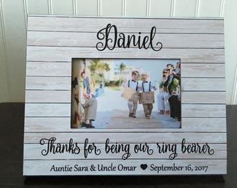 Ring bearer picture frame // Thanks for being our ring bearer  // Wedding gift for a ring bearer