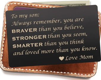 Personalized Wallet Insert Card Son Mom To Gifts Graduation For Birthday Gift Deployment