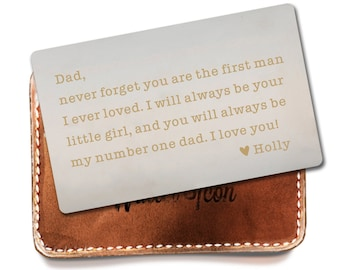 Personalized Wallet Insert For Dad Fathers Day Gift From Daughter To Father Birthday