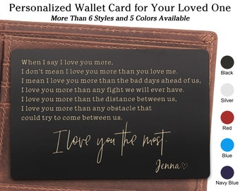 Personalized Engraved Wallet Card For Husband Anniversary Gift GiftWife To GiftHusband Birthday Him