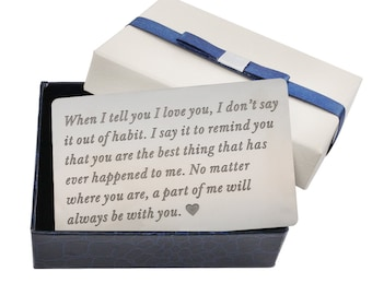 Engraved Wallet Insert Card One Anniversary Gifts For Boyfriend Birthday Gift Men Mens