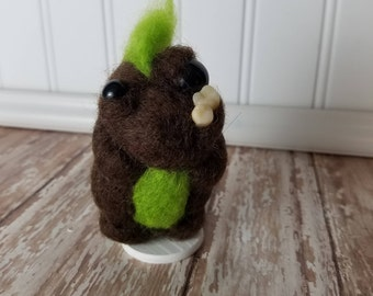 Adorable Needle Felted Wool Toothy Monster- Blown and Green
