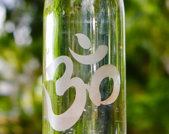 16oz. Etched Om design reusable glass water bottle. Ecofriendly.