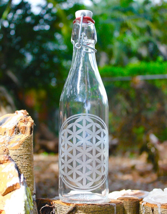 16oz Etched Flower Of Life Design Reusable Glass Water Bottle Etsy