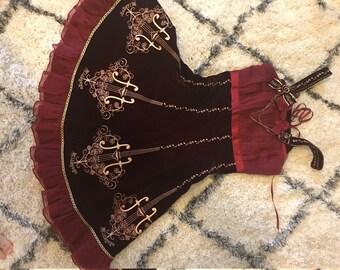 Symphony Gold Embroidered Velvet Lolita Jumperskirt Dress