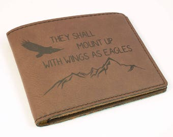7d183a38ac27 Wings As Eagles Bifold Wallet - Gift for Him - Engraved Wallet -  Inspirational Gift - Wings As Eagles - Scripture Gift