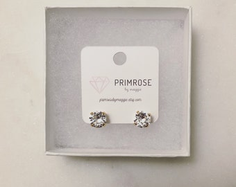 Crystal + Rose Gold, Handmade, Swarovski Crystal, Stud Earrings, Bridal Earrings, Wedding Jewelry, Bridesmaid Jewelry, Bridesmaid Gift