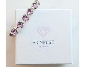 Light Amethyst + Silver Handmade Swarovski Crystal Bracelet, Purple Bracelet, Bridesmaid Jewelry, Bridesmaid Gift, Amethyst Jewelry
