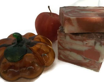 Apple Cinnamon Spice Soap, autumn soap, Macintosh apple soap, red and brown soap, season spice soap, low shipping