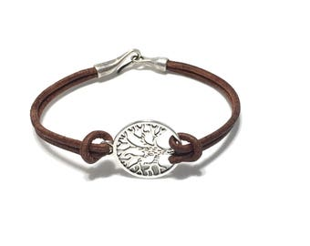 Leather Tree of Life hook bracelet.