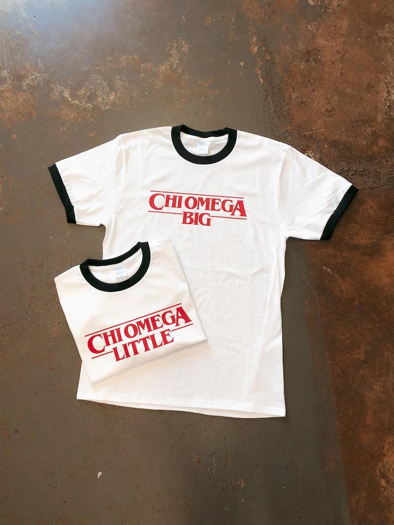 2339fec2fbbb8 Stranger Things Themed Big/Little Reveal Ringer Tees, Big Little Gift, Chi  Omega, Chi Omega Shirt, Sorority Shirt, Big Little Shirts, Greek