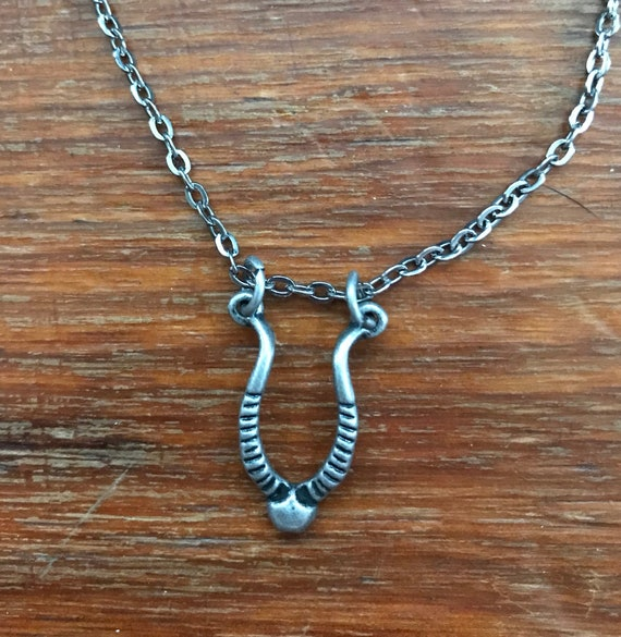 Antiqued Silver Tone Necklace with Gazelle Horns Pendant