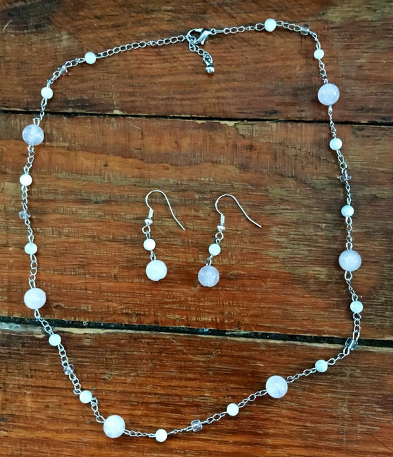 Rose Quartz, Mother of Pearl and Czech Glass Bead Necklace and Earring Set
