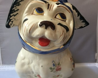 Darling 1940's Shawnee Pottery Muggsy Dog Toothache Cookie Jar Gilt Flowers RARE