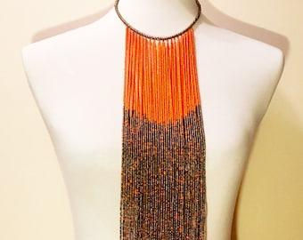 Massai Waterfall Hand Beaded Necklace