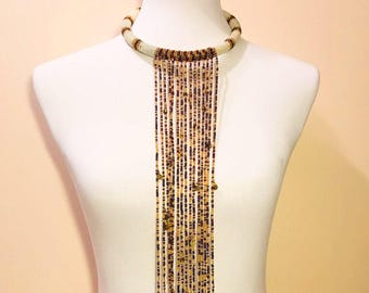 Gold & White Massai Beaded Waterfall  Necklace.