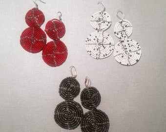 Hand beaded Earrings - Circle drop earrings 3 colors