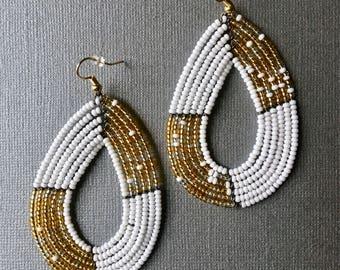 Hand beaded Earrings - Massai Teardrop