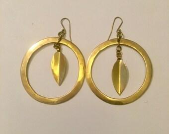 """Brass hoop earrings. Hang 2 3/4"""" long."""