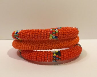 Beaded Bangles (set of 3) Orange Colorways