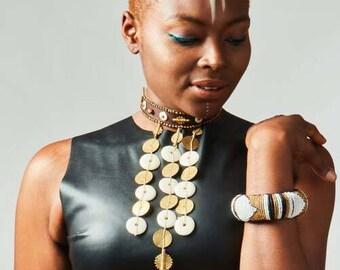 Wakanda Handmade choker - brass and carved horn or bone