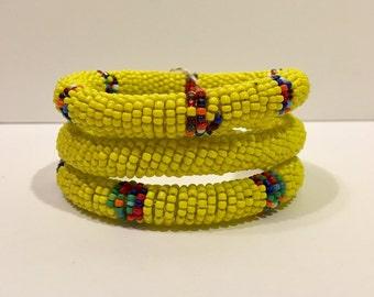 Beaded Bangles (set of 3) Yellow Colorways