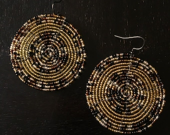 Hand beaded Earrings - gold/brown & blue/gold colors 2 designs
