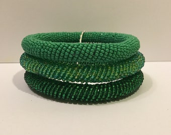 Beaded Bangles (set of 3) Green and Blue colorways