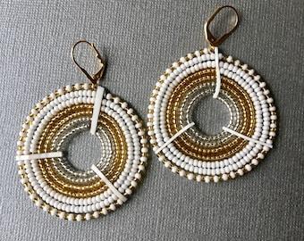 Wakanda Hand beaded Earrings - Massai pattern 2 Colors available