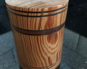 Pitch Pine Marquetry Box, 80mm cylindrical box, lidded wooden box.