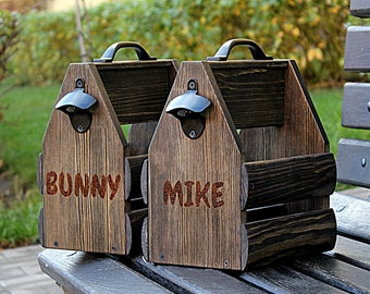Black wooden six pack beer carrier, Wooden Beer Carrier, Wooden Beer Caddy, Father's Day gift, Personalized Birthday Gift, Home Brew