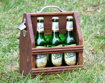 Wooden six pack beer carrier, Wooden Beer Carrier, Wooden Beer Caddy, Christmas gift, Personalized Birthday Gift, Bar decor, Home brewing