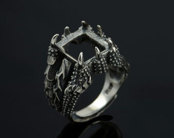 12x14 mm Sterling Silver Ring Base/Antique Big Dragon Claw Blank Ring Tray Fit 12x14 mm Bezel Setting/Blank Sterling Silver Ring/#SS-R006