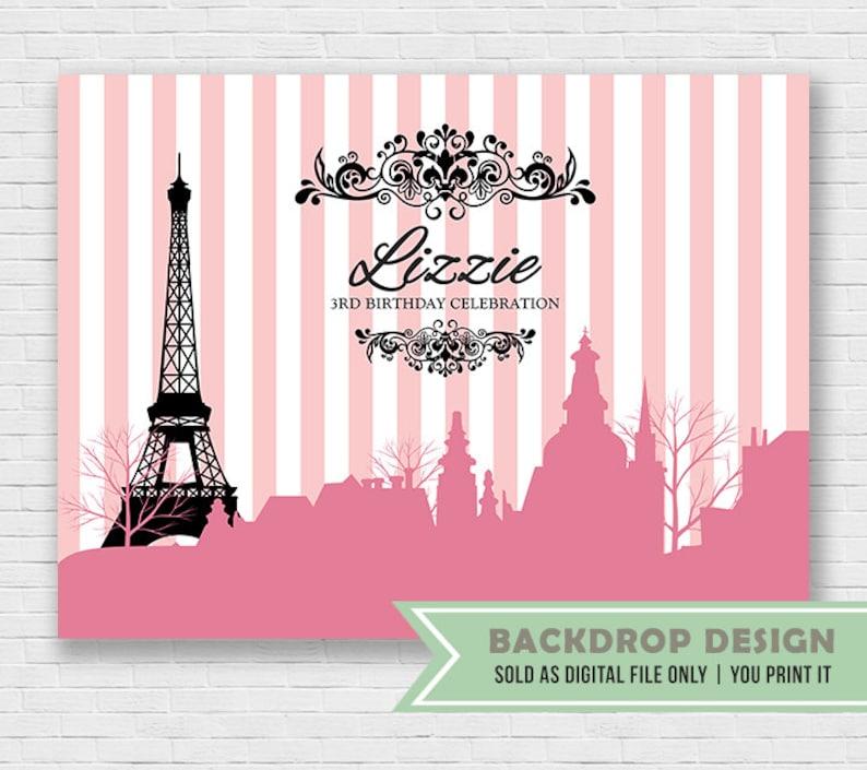 Digital Paris Theme Party Backdrop Pink Black Paris Etsy