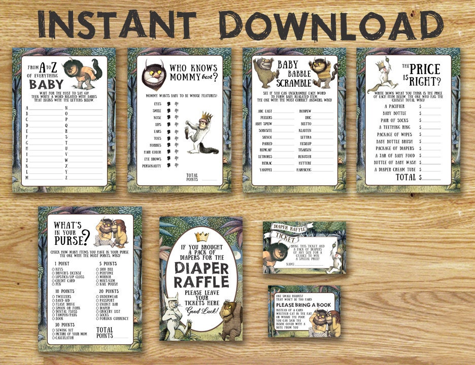 Baby Shower Games Package - Where The Wild Things Are // Instant Download -  Available Immediately!