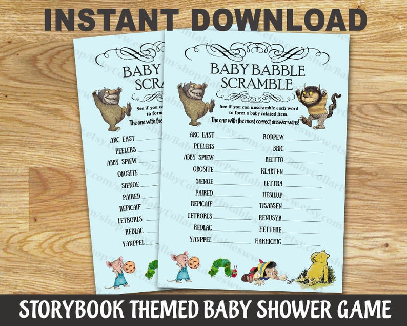 Storybook Baby Shower Game // Babble Scramble Letter // Digital File Only