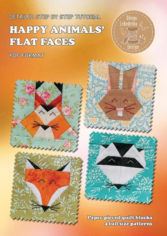 4 Animal Flat Face Quilt Patterns, paper piecing quilt patterns, instant download PDF patterns set rabbit fox raccoon squirrel quilt block