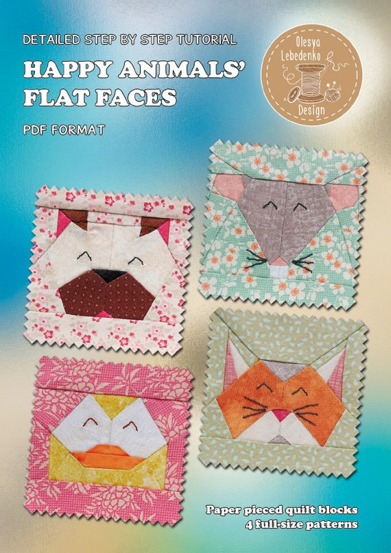 4 Animal Faces PDF Paper Piecing Patterns Tutorials: Dog, Mouse, Cat, Duck
